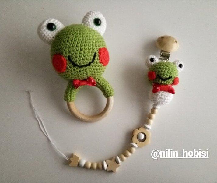 Amigurumi Kurbağa Çıngırak-Diş Kaşıyıcı Yapımı