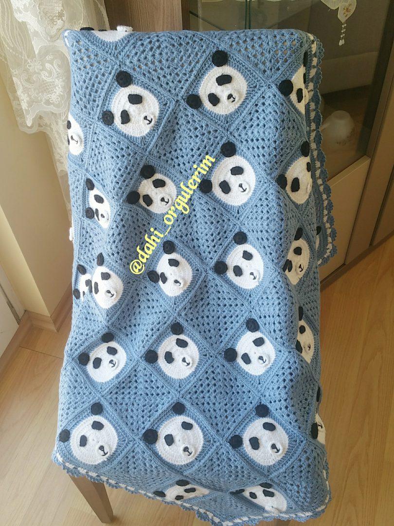 panda-motifli-battaniye-yapimi